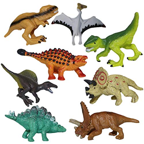 8 Piece Set Mini Dinosaur Model, Children Educational Simulated Toy Animal Puzzle Birthday Party Gifts Kids Boys Girls Above 3 Years Old -1.9x1.7x2.7Inch (Multicolor) from Aritone - Toy