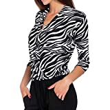 Gorday Women Pullover Tops Leopard Print V Neck 3/4 Sleeve Sweatshirts Blouse Casual Loose Shirts Tunics