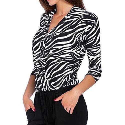 HIRIRI Leopard Zebra Print Women Blouse Loose Overlap Casual Shirt Long Sleeve V-Neck Elegant Ladies Tops White