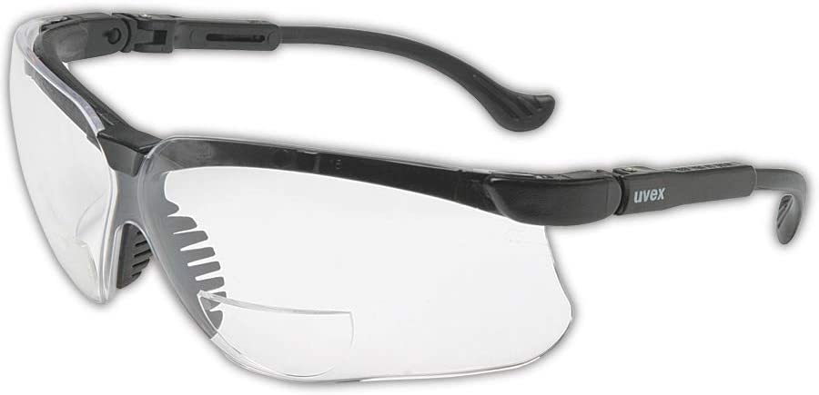 Honeywell Home Uvex Genesis 1 Diopter Black Safety Glasses With Clear Anti-ScratchHard Coat Lens, Black/Clear, 1.0 (S3760)