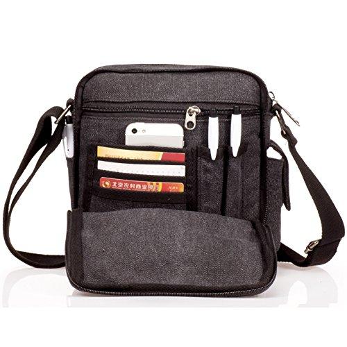 Negro para Colegio Vintage Bolsos Libro Outreo Lona Viaje Bolsos Originales Universidad Tela Bolsa Pequeñas Bag Bolso Sport Bandolera de Messenger Hombre de Bolsas de Bag xwvx4CPS