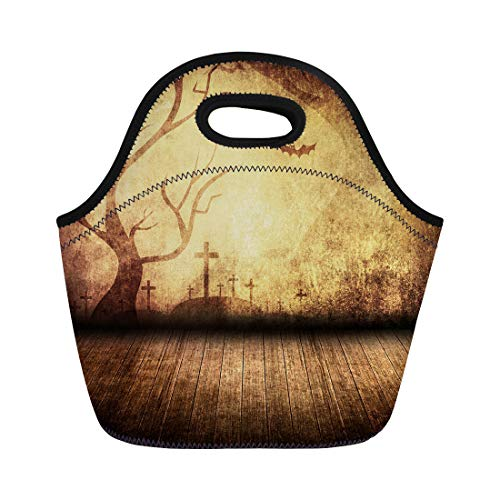 Semtomn Lunch Tote Bag Brown Party Halloween Retro Room Yellow Vintage Stage Scary Reusable Neoprene Insulated Thermal Outdoor Picnic Lunchbox for Men Women ()