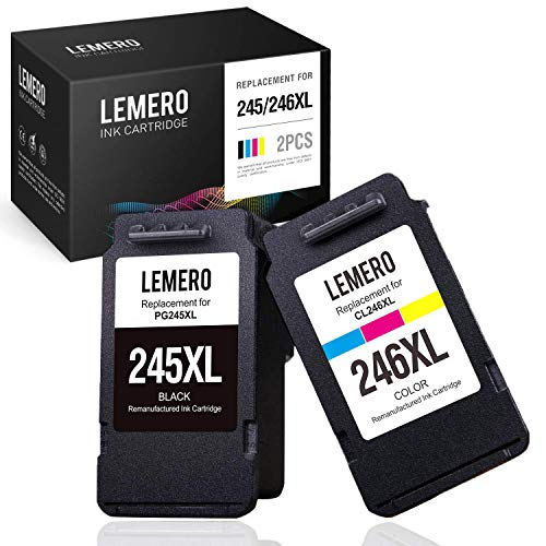 LEMERO Remanufactured Ink Cartridges Replacement for Canon PG-245XL CL-246XL 245 246 PG-243 CL-244 for Pixma MX492 MX490 TS3122 TS3120 MG2522 MG2520 MG3022 MG2922 MG2920 IP2820 (1 Black, 1 Tri-Color)
