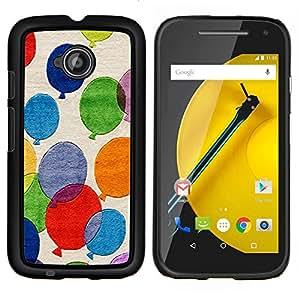 Be-Star Único Patrón Plástico Duro Fundas Cover Cubre Hard Case Cover Para Motorola Moto E2 / E(2nd gen)( Palloncini colorati Pittura Arte Fly Blu Rosso )