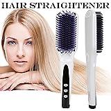 Meflying Electric Hair Brush, Ionic Digital Long Hair Straightening Comb Ceramic Fast Heating Short Hair for Women Men Home (Black)