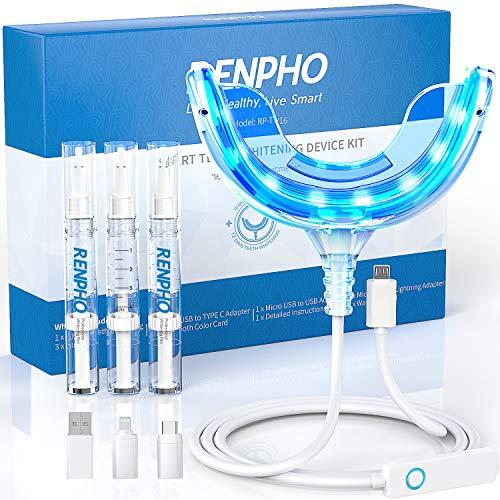 Teeth Whitening Kit with Led Light, Renpho 16 Led Accelerator Light Teeth Whitening Kit for Sensitive Teeth Whitener…