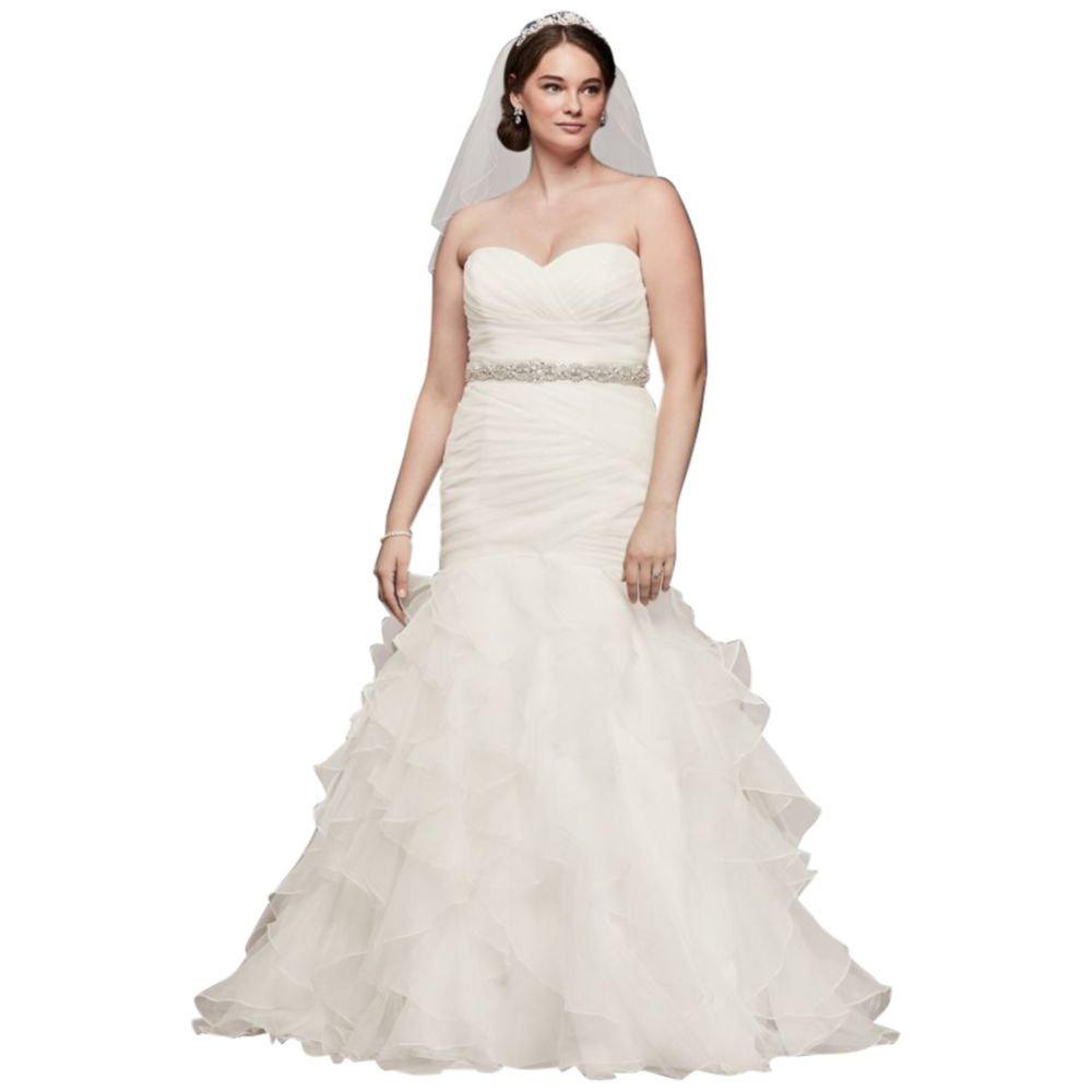 Ruffled Organza Plus Size Mermaid Wedding Dress Style 9WG3832