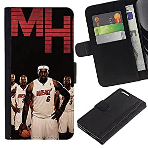 MobileX / Apple Iphone 6 PLUS 5.5 / Mh Heat Basketball Team / Cuero PU Delgado caso Billetera cubierta Shell Armor Funda Case Cover Wallet Credit Card
