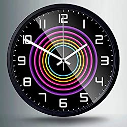 """Artistry Clock-Modern Decorative 12"""" Silent Non-Ticking Wall Clock And Fashionable Style Design Quartz Round Clock With Stoving Varnish Finished Metal Frame,Battery Operated(Rainbow Circle, Black)"""