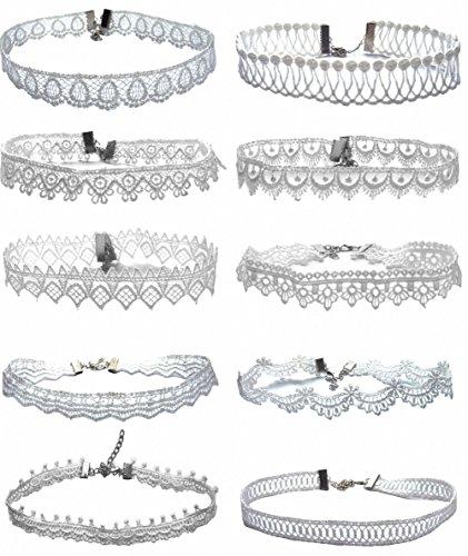 TISDA 8-10pcs Fashion Elegant White Lace Choker Necklace for Women Girls Simple Fashion Jewelry (10pcs)