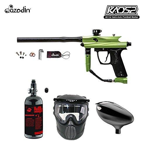 MAddog Azodin KAOS 2 Beginner HPA Paintball Gun Package A - Green/Black (Spyder Paintball Gun Green)