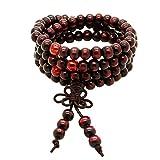 108 Beads 6mm Red Sandalwood Tibetan Buddhist Prayer Elastic Mala Necklace
