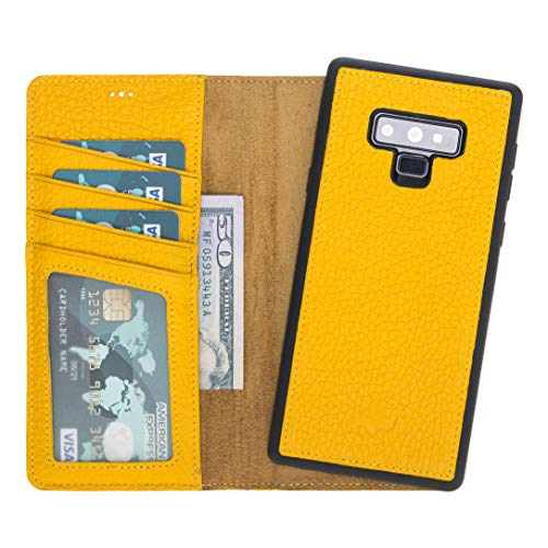 Burkley Case Full Grain Leather Wallet Folio Case with Detachable Snap-on Back Cover for Samsung Galaxy Note 9 | Book Style Cover with Card Holders (Sunflower Yellow)