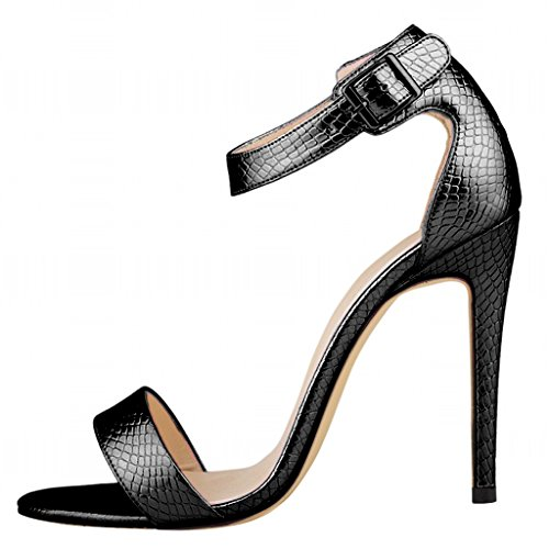 Wotefusi Women Summer Snakeskin Pattern Open Toe Bandage Ankle Strap Sandals Shoes High Heels Stilettos Black jNtfbyRz2n