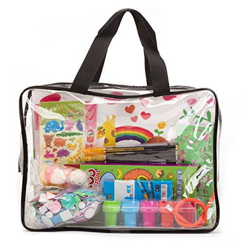 Clear Stamp Storage Kit - Art & Craft Stationery Kit Kids in Clear Travel Tote Bag - Colored Pencils, Glitter Gel Pens, Self Inking Stamps Preschool Kids More!