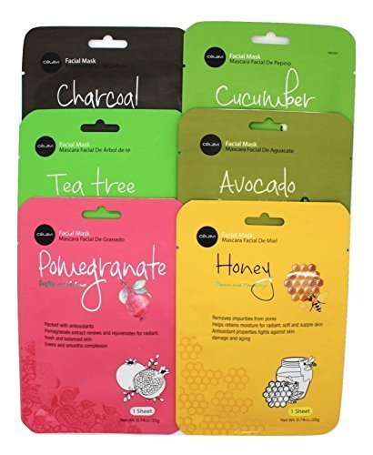 Celavi Essence Facial Mask Paper Sheet Korea Skin Care Moisturizing 12 Pack (Mix - 2 of Each)