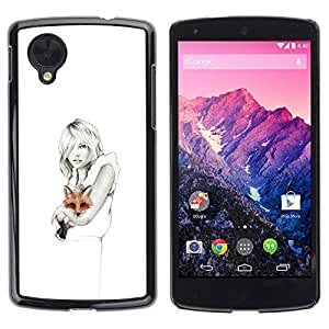For LG Google NEXUS 5 / E980 /D820 / D821 Case , White Clean Pencil Art Lady Pretty - Diseño Patrón Teléfono Caso Cubierta Case Bumper Duro Protección Case Cover Funda