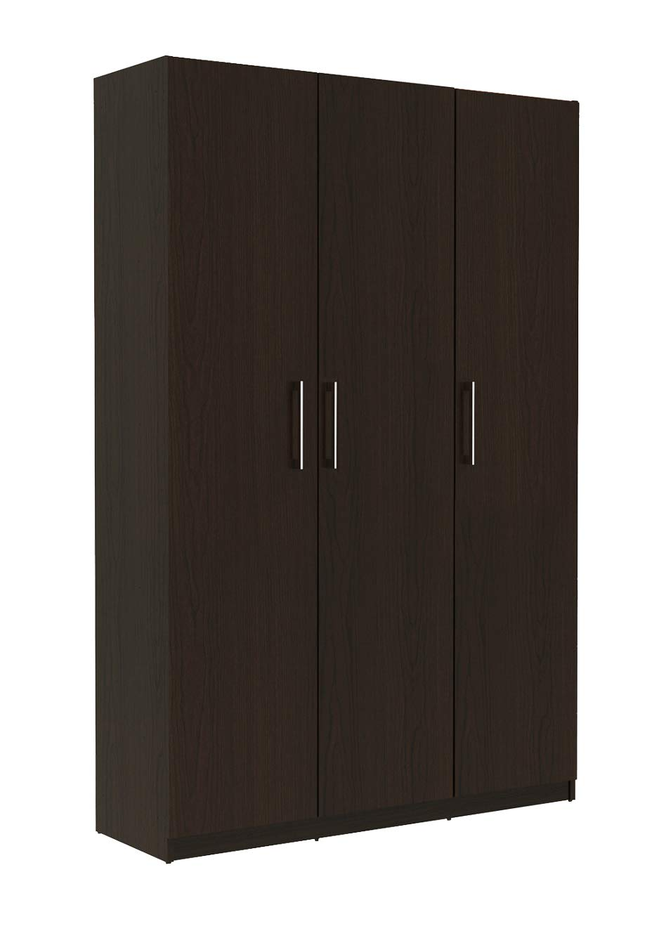 3 Door Wardrobe 5 Shelves Bedroom Cupboard Large Storage Space 1 Metre Wide (White) Riana
