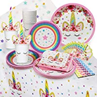 Unicorn Party Supplies Set - Serves 16 - Perfect For Birthday Girls, Baby Showers, and First Birthday Party Favors -Original sleepy Unicorn Party Supply Set by Funky Fledgling