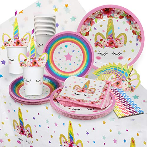 Unicorn Party Supplies Set - Serves 16 - Perfect for Birthday Girls, Baby Showers, and First Birthday Party Favors - Unicorn Party Supply Set (Value Set with Tablecloth and Dessert Plates)