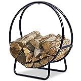 Firewood Log Rack Hoop Tubular Steel Wood Storage Holder for Indoor & Outdoor (24 Inch)