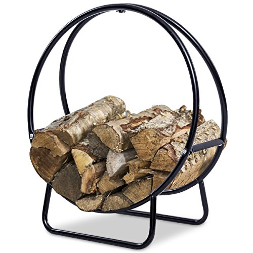 Diameter Log Hoop - Goplus Firewood Log Hoop Tubular Steel Wood Storage Rack Holder Curved Display for Indoor & Outdoor (24-Inch)