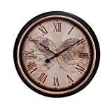 Kiera Grace Map Wall Clock, 16-Inch, 2-Inch Deep, Black
