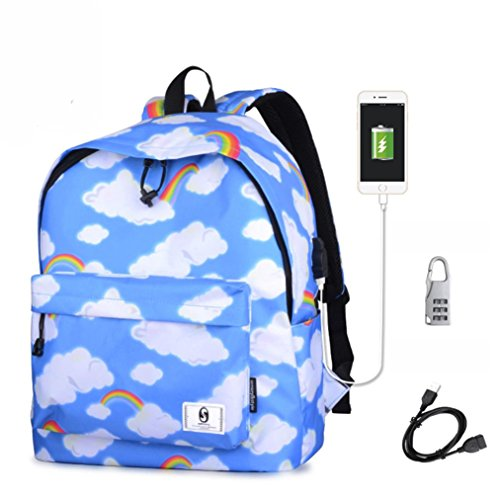 Siswong Unisex Adult Padded Backpack Multicolor Bolso Viajar Daypack Deportes Portátil Mochila MU D