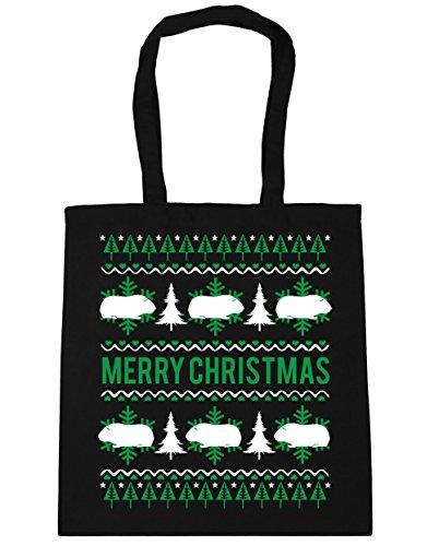 HippoWarehouse feliz Guinea Pig Christmas Tote Compras Bolsa de playa 42cm x38cm, 10litros negro
