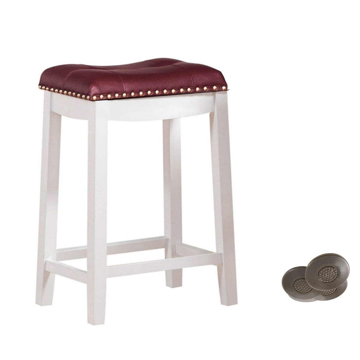 Angel Line 43418-21 Cambridge bar stools, 24'' Set of 1, White w/Dark Red Cushion and Adhesives Floor Protector