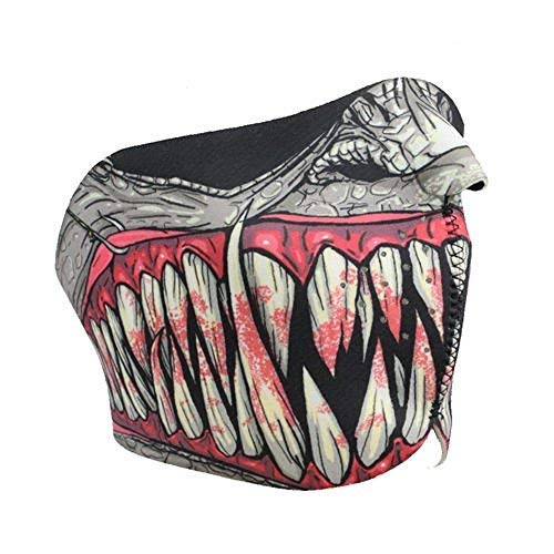 Hot Leathers Fang Face Teeth Half Neoprene Face Mask (Grey)