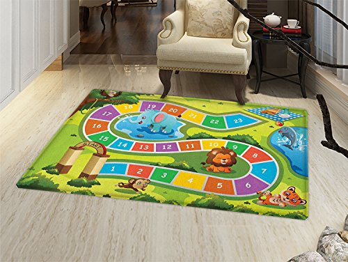 Kids Activity Door Mats Area Rug Picnic in the Forrest Colorful Pathway to the Blanket with Friendly Animals Floor mat Bath Mat for tub Multicolor by smallbeefly