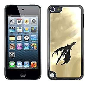 Caucho caso de Shell duro de la cubierta de accesorios de protección BY RAYDREAMMM - Apple iPod Touch 5 - Dragon Flying Art Sky Sunshine Light Black