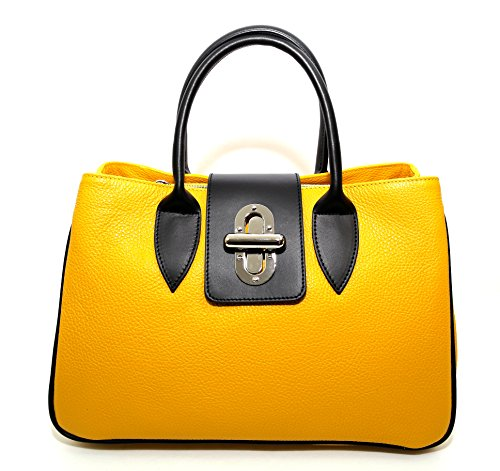 Woman Bag Arno, genuine Leather, Made in Italy, CREEO, Navy Blue (Navy Blue) (Yellow) Arno Leather