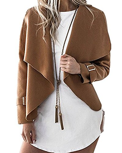 Cnfio Women's Long Sleeve Short Jacket Coat Irregular Lightweight Casual Cape Cardigan Khaki XL (Xl Cape)