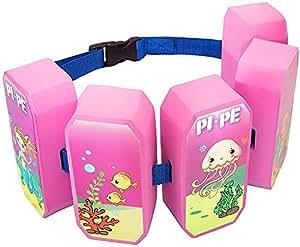 Pi-Pe Cinturón flotador para niños–Flotador Ideal para aprender y toben–5Bloques según el Progreso Restos–Bonito diseño para niños y niñas, infantil, color rosa, tamaño talla única
