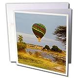 3dRose Danita Delimont - Travel - Tanzania, Serengeti NP. Hot air balloon crossing the Mara River. - 12 Greeting Cards with envelopes (gc_276591_2)