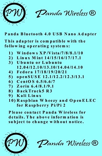 Panda Bluetooth 4 0 USB Nano Adapter - Windows XP/Vista/7/8/8 1/10, Mint,  Ubuntu, Fedora, openSUSE, Lubuntu, Zorin, BackTrack5 R3, Kali Linux,