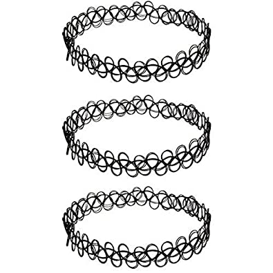 3 x Choker Necklace Black Set | Tatto Henna Jewelry Necklace Set of 3 | Black Vintage Gothic Stretch Elastic Choker Collar Necklace 80´s 90´s + Free Shipping + 30 Day No Risk Satisfaction Guarantee henna_tattoo