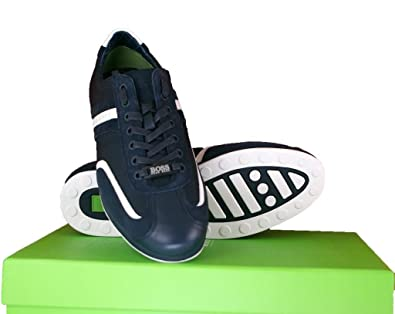 908af5244 Hugo Boss Green Stiven Real Leather Sneakers Trainer Shoes in Dark Blue UK 7
