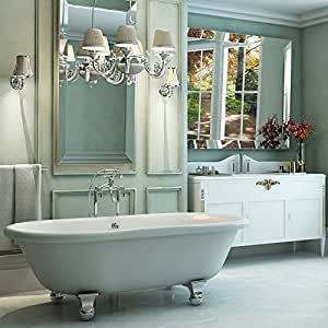 Luxury 72 inch Large Modern Clawfoot Tub in White with Stand-Alone ...