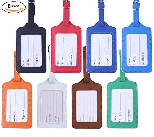 Travel Luggage Tags - Bulk PU Cruise Baggage Tag Set - Identifiers Labels For Suitcases 8 Pack - Leather Football Keychain Tag