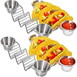 Taco Truck 4 Pack Taco Holder Stands With Two Dip Cups | Food-grade Stainless Steel | Oven Safe, Dishwasher Safe | Taco Truck Restaurant Style Racks