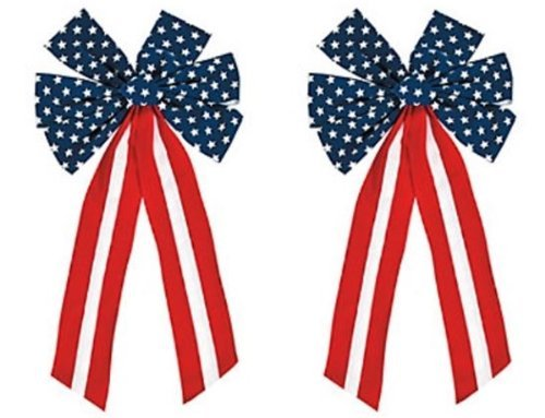Patriotic Bows - 2 Pack Red White and Blue Patriotic bow Decorations 23 Inch -