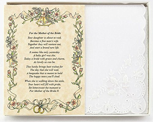 Wedding Handkerchief Poetry Hankie (for Bride's Mother from Friend or Family) White, Lace Embroidered Bridal Keepsake, Beautiful Poem | Long-Lasting Memento for The Bride's Mother | Includes Gift Box