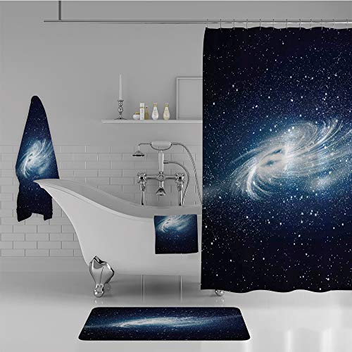 Celestial Bath - iPrint Bathroom 4 Piece Set Shower Curtain Floor mat Bath Towel 3D Print,Image Space and Stars Celestial Cosmos Expanse,Fashion Personality Customization adds Color to Your Bathroom.