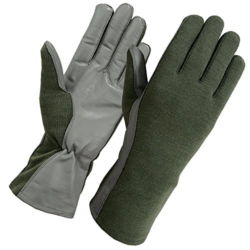Secpro Tactical Cold Weather Nomex Pilot Flight Gloves Fleece Lined OD MED