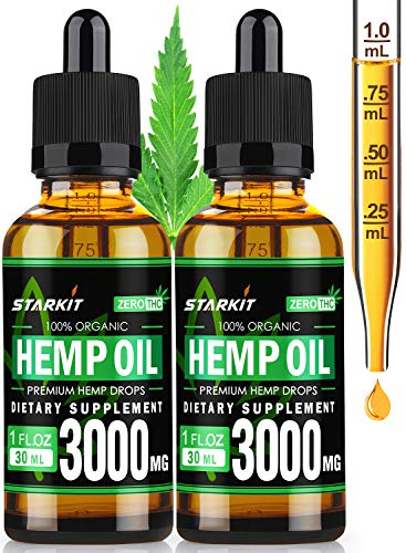 2x30ml – Hemp Oil Extract 3000mg Natural for Pain Anxiety & Stress Relief, Better Sleep & Mood, Organic Supercritical…