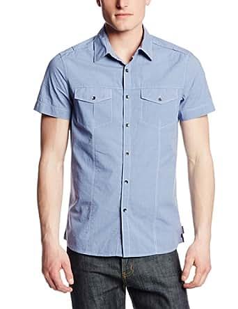 Kenneth Cole New York Men's Military Mini Stripe Shirt, Blue Glass Combo, Small
