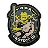 Yoda Protect Us Glow In The Dark Light Saber Star Wars PVC Rubber Morale Patch, Velcro Morale Patch by NEO Tactical Gear